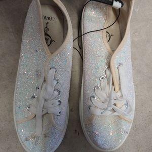 White Glitter Sneakers Size 9